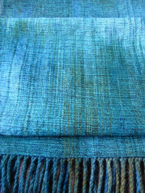Hand painted warp Shawl on 4 shaft loom